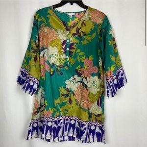 CAbi 100% Silk Asian Inspired Floral Tunic